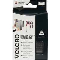 VELCRO Brand Heavy Duty Stick On Strips, Black, 50 x 100mm