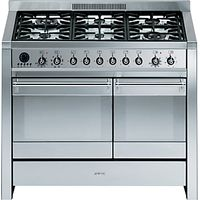 Smeg A2-8 Dual Fuel Range Cooker, Stainless Steel