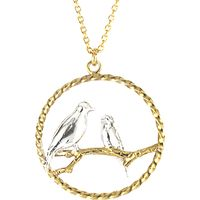 Alex Monroe Lovebirds In Loop Pendant Necklace, Gold/Silver