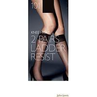 John Lewis 10 Denier Ladder Resist Knee High, Pack of 2