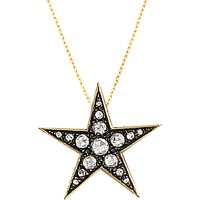 London Road 9ct Gold Portobello Starry Night Large Diamond Star Pendant, Gold/Black