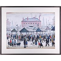L. S. Lowry - Market Scene, Northern Town Framed Print, 80 x 64cm