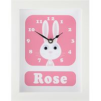 Stripey Cats Personalised Rhonda Rabbit Framed Clock, 23 x 18cm