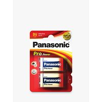Panasonic Pro Power 6LR61 Alkaline 9V Battery, Pack of 2