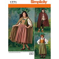 Simplicity Men & Womens Robin Hood Costume Sewing Pattern, 1771