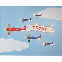 Illuminated Canvas Personalised Bi-planes LED Canvas, 40 x 60cm, Baby Blue