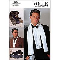 Vogue Mens Accessories Ties & Scarves Sewing Pattern, 7104