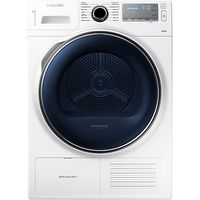 Samsung DV80H8100HW Heat Pump Condenser Tumble Dryer, 8kg Load, A++ Energy Rating, White