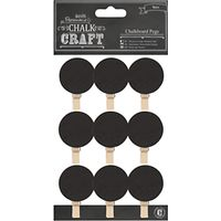 Docrafts Papermania Chalk Craft Chalkboard Circle Pegs, Pack of 9