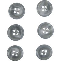 Medium Plastic Button, 16mm, Pack of 6, Grey