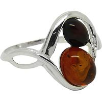 Goldmajor Sterling Silver Two-Tone Amber Ring, Amber, N