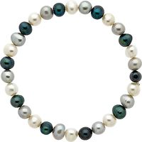 Finesse Stretch Pearl Bracelet, White/Blue