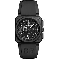 Bell & Ross BR0394-BL-CE Mens Rubber Strap Watch, Black