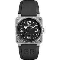Bell & Ross BR0392-BL-ST Mens Rubber Strap Watch, Black