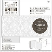Docrafts Wedding Cards and Envelopes, Dove Grey, 6 x 6, Pack of 25