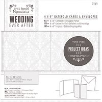 Docrafts Wedding Gatefold Cards and Envelopes, Dove Grey, 6 x 6, Pack of 25