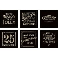 East Of India Christmas Square Sticker Sheet, Black/Gold