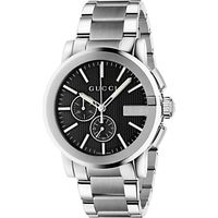 Gucci YA101204 Mens G-Chrono New XL Chronograph Stainless Steel Bracelet Strap Watch, Silver/Black