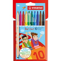 Stabilo Trio 2 in 1 Double Ended Coloured Pens, Pack of 10