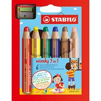 Stabilo Woody 3 in 1 Coloured Pencils, Pack of 6, Multi