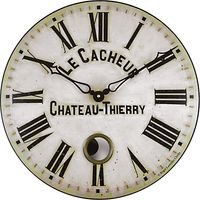 Roger Lascelles Antique French Wall Clock with Pendulum, Dia. 41cm