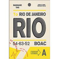Nick Cranston - Luggage Labels: Rio Unframed Print with Mount, 40 x 30cm