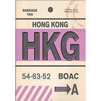 Nick Cranston - Luggage Labels: Hong Kong Unframed Print with Mount, 40 x 30cm