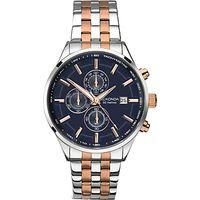 Sekonda 1107.27 Mens Velocity Two Tone Stainless Steel Chronograph Bracelet Strap Watch, Silver/Rose Gold