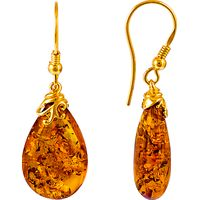 Be-Jewelled Gold Plated Sterling Silver Amber Drop Earrings, Amber