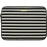 kate spade new york Stripe Monochrome 13 Laptop Sleeve, Black/White