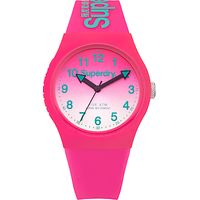 Superdry SYL198PN Womens Urban Laser Silicone Strap Watch, Hot Pink