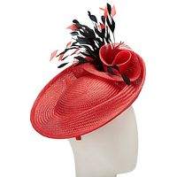 John Lewis Ruby Straw Disc Feather Quills Occasion Hat, Red/Black