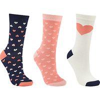 John Lewis Heart Stripe Ankle Socks, Pack of 3, Multi