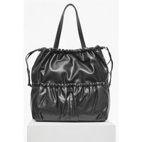 French Connection Soft Drawstring Tote Bag - black