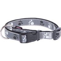 Trixie Reflective Paws Dog Collar - Silver - Size M-L