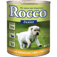 Rocco Junior 6 x 800g - Chicken Hearts, Rice & Calcium