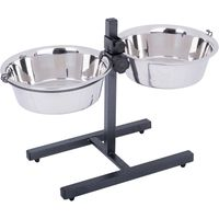 Dog Bowl Stand with 2 Stainless Steel Bowls - 2 x 1.6 litres