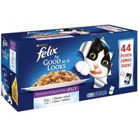 Felix As Good As It Looks Jumbo Pack 44 x 100g - Meat Menus in Jelly