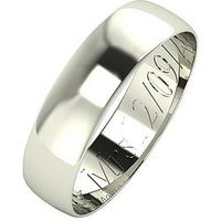 Love GOLD Personalised 9 Carat White Gold D-Shaped Wedding Band 5 mm, Size Z, Women