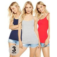 V by Very Strappy Vests (3 Pack), Navy/Red/Grey, Size 14, Women