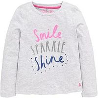 Joules Girls Long Sleeve Sparkle Slogan T-Shirt, Grey, Size Age: 5-6 Years, Women