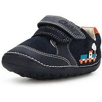Clarks Boys Tiny Tom Strap ShoesWidth Sizes Available, Navy, Size 2.5 Younger