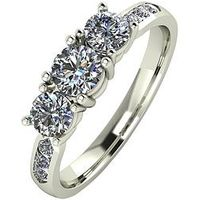 Moissanite 9ct Gold 1.00ct eq total Moissanite Trilogy Ring with Channel Set Shoulders, Yellow Gold, Size R, Women