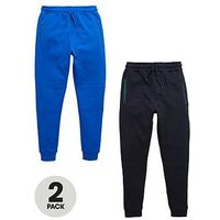 V by Very Boys Skinny Zip Joggers (2 Pack), Navy/Blue, Size Age: 7-8 Years