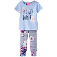 Joules 2 piece Flower Power Outfit, Sky Blue, Size 3-6 Months