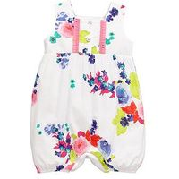 Joules Woven Floral Romper, White, Size 9-12 Months