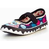Irregular Choice Girls Mini Reins Shoe, Black Spot, Size 1 Older