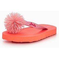 Joules JUNIOR GIRLS FLIP FLOP, Bright Orange, Size 1 Older