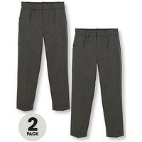 V by Very Schoolwear Boys 2Pk Classic Woven Regular, Grey, Size Age: 8-9 Years