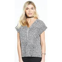 V by Very Zip Front Boxy Top, Print, Size 18, Women